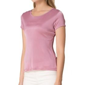 (MAYUDAMAシルク)シルク シルクニットTシャツ レディース 大きいサイズ 選べるサイズ・カラー (XXL, オーキッド・ピンク)