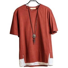 (オリマート)ORI-MART 半袖 カットソー 重ね着風 裾切り替え Tシャツ バイカラー 夏 ストレッチ ストリート カジュアル シャツ デザイン メンズ (XL(日本サイズL相当), レッド)