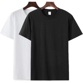 ODFMCE Tシャツ メンズ 半袖 無地 綿 ゆったり 夏 薄手 2枚組 おしゃれ おおきいサイズ (ブラック+ホワイト, XXXL)