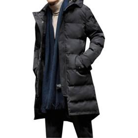 [ユケ二ー] 防水 速乾 中綿ジャケットコート ダウンジャケット ライトダウン 大きいサイズ メンズ ロングコート お兄系 高級羽毛 ブラック3XL