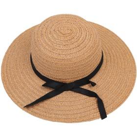 キャップ,SODIAL(R)女性の高品質シックワイド大きいつばの夏のビーチ日よけキャップ 麦わら帽子