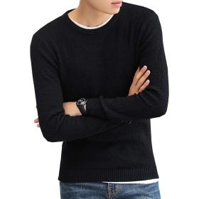 oolivupf ニット メンズ セーター 綿100% 裏起毛 無地 大きいサイズ 防寒 春/秋/冬(J702 blace M)