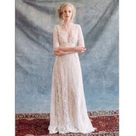 ロングドレス パーティー ウエディング レース 七分袖 Vネック 結婚式 二次会 お呼ばれ 大きいサイズ 白 韓国