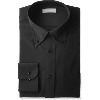 [ドレスコード101] ボタンダウン 長袖 ワイシャツ メンズ 黒 形態安定生地 シャツ 制服 飲食店 黒Yシャツ ブラック L