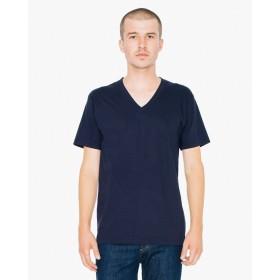 (アメリカンアパレル)americanapparel ファインジャージー Vネック 半袖Tシャツ Fine Jersey V-Neck T-Shirt (L, NAVY) [並行輸入品]