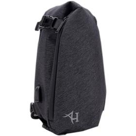 メンズ ボディバッグ プレゼント 斜めがけ 防水 ショルダーバッグ USBポート 付き (ブラック)
