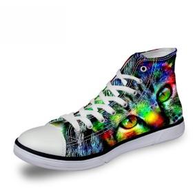 [FOR U DESIGNS]個性的なデザイン キャンバス スニーカー レースアップ シューズ canvas shoes ハイカット メンズ レディース 猫柄