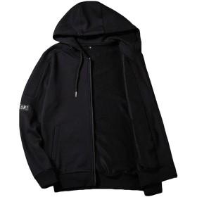 チーアン Tiann メンズ ジャケット パーカー スウェット フード付き ジャンパー ブルゾン カーディガン 長袖 ブラック 2XL