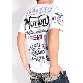 【2019春夏】(ノートン) NORTON Tシャツ NORTONロゴ&ユニオンジャック ラメ刺繍 天竺 半袖Tシャツ 192N1001-001WHITE (M, 001(ホワイト))