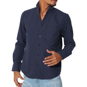 LUX STYLE(ラグスタイル) シャツ メンズ イタリアンカラー トップス コットン 無地 ネイビーL