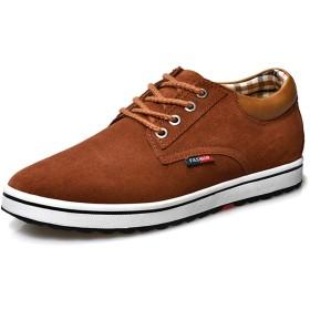[Fainyearn] シークレットシューズ カジュアルシューズ メンズ靴 シークレット革靴 スエード 紳士靴 ビジネスシューズ 通勤背が高くなる靴 カジュアル 身長6cmUP 身長アップ靴 ブラウン 25.0cm