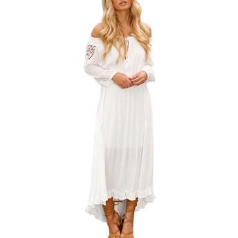BAO8 ドレス オフショルダー 無地ワンピース 長袖ドレス ロング丈スカート セクシー 女性ワンピース 可愛い 素敵 春着 夏物 普段着 (XL, 白)