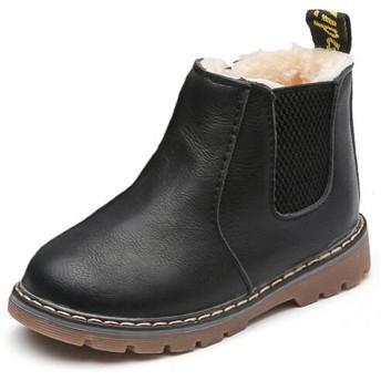 (ダダウン)DADAWEN 子供ブーツ 男の子 女の子 ショートブーツ 裏ボア 防水ブーツ ジッパー付き 履きやすい 滑り止め 通学 通園 ブラック 16cm