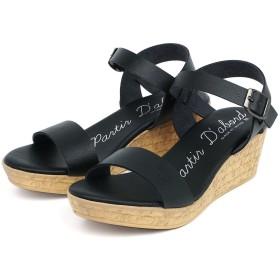 [セレブル] (パルティエダボール) partir d`abord 日本製 美脚 ウェッジ サンダル レディース 歩きやすい 疲れない 厚底 ブラック S
