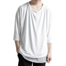 (モノマート) MONO-MART ヘムライン ドルマン カットソー Uネック 7分袖 サマー Tシャツ 軽快 メンズ フリーサイズ オフホワイト ワンサイズ