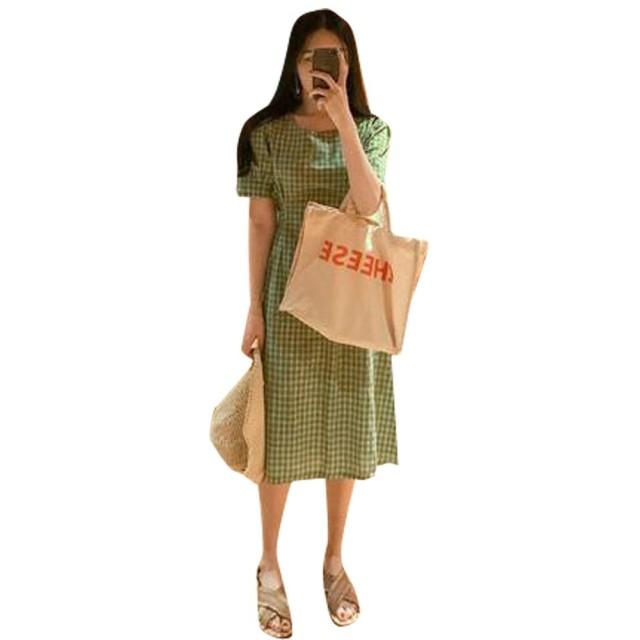 Remhop レディース ファッション ロング スカート ドレス 夏 かわいい カジュアル 素晴らしい ワンピース ラウンドネック レトロ コットン プリント ひざ丈 きれいめ