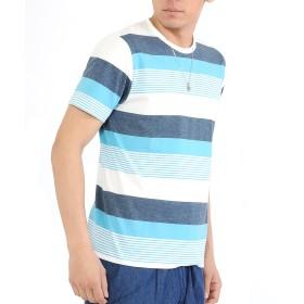 (スペイド) SPADE Tシャツ ボーダー メンズ Uネック クルーネック ボーダーTシャツ 【e722】 (D1, XL)