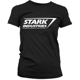 Officially Licensed Stark Industries Logo Women T-Shirt (Black), Medium