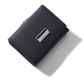 財布 大容量 がま口 シンプル 三つ折り ミニ財布 人気 ウォレット カード小銭入れ かわいい おしゃれ 女性用 プレゼント 5カラー(専用化粧箱付き) (ブラック)