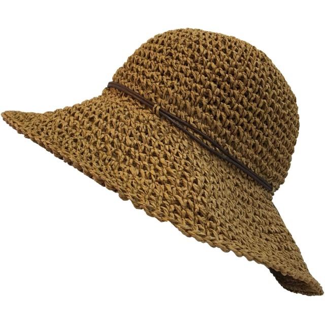 TRAX SHOP 麦わら帽子 帽子 レディース uv 折りたたみ ペーパー ハット ワイヤー 春 夏 春夏 UV カット 対策 紫外線 日よけ 涼しい 紐巻き upf50+ 運動会 旅行 南国 ストローハット (キャメル)
