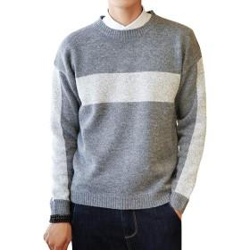 メンズ セーター ニット ケーブル編み クルーネック カジュアル ニットセーター (M(日本S相当), グレー)
