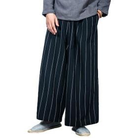 ワイドパンツ ガウチョパンツ ユニセックス タイパンツ スカンツ デザイナ かっこいい アジアンパンツ 衣装 ストライプ シンプル カジュアル ウエストゴム リネン