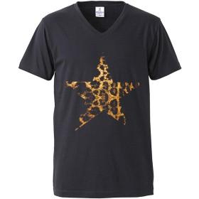 Vネック Tシャツ 星 スター ヒョウ柄 豹 メンズ 半袖 Tシャツ ブラック黒 prt008 LL