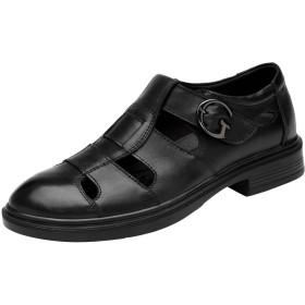 [レンシー] メンズ カジュアルシューズ 本革 スリッポン レザーサンダル ビジネス オフィス ウォーキング ベルクロ 革靴 通気性 紳士靴 40