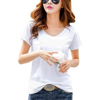 [Minesam] レディース Tシャツ 半袖 トップス インナー シャツ 無地 カシュクール ゆったり 薄手 半袖 カジュアル