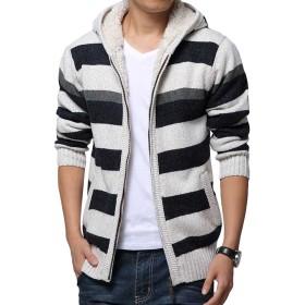 (モダンミス)Mordenmiss ボーダーカーディガン メンズ 厚いセーター フード付き ホワイト2 XL