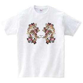 Lindwurm (リンドヴルム) Tシャツ メンズ 半袖 おしゃれ 虎 和柄 ボタニカル 花 クルーネック Uネック ユニセックス 男女兼用 プリントTシャツ ホワイト XXL