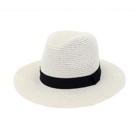 HurBer 麦わら帽子 メンズ 男性 中折れハット 中折れ帽子 ストローハット パナマ帽 折りたたみ 調節可能 つば広 紫外線対策 日除け UVカット 大きめ 農作業 作業 アウトドア (ホワイト)