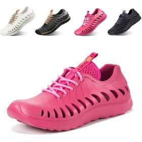 [Torotto] サンダル アクアシューズ ビーチ靴 マリンシューズ 水陸両用 メンズ レディース 軽量 通気性のスポーツサンダル(ローズレッド 23)