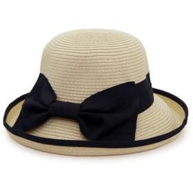 Aness (アネス) 大きめリボン つば広ハット パイピングつば広帽 女優帽 麦わら帽子 UV対策 紫外線対策 フリーサイズ #p153 (ナチュラルxブラック)