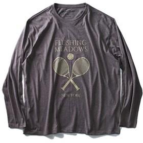 DANIEL DODD オーガニックコットンプリントロングTシャツ(FLUSHING MEADOWS) azt-180421 大きいサイズ メンズ【200.ブラウン系-4L】