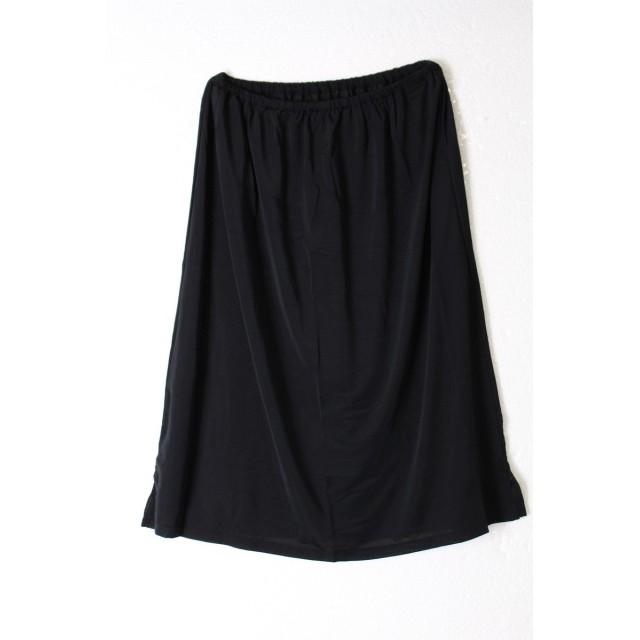 ペチコート ワンピースのインナーに ロング 透け防止 スカート レディース Mサイズ/ ブラック(40cm)
