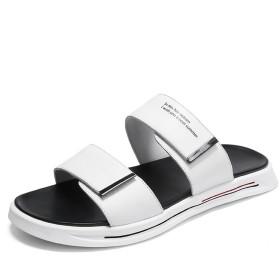 [ドドシューズ] 『JIH』厚底 マジックタープ サンダル メンズ レザー スリッパ ビーチサンダル おしゃれ 革 大きいサイズ 2way 軽量 歩きやすい 外履き 2ベルト ファッション クッション 白 黒 コンフォート 27cm