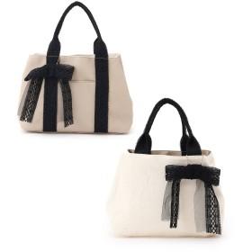 Couture Brooch クチュールブローチ レースリボンチャーム付きリバーシブルトートバッグ