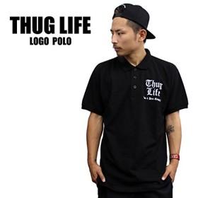 3415 THUG LIFE/サグライフ 半袖ポロシャツ THE BRAND LOGO/ブラック×ホワイト (2XL)