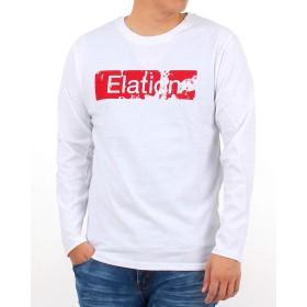 [エムシー] Tシャツ 長袖 メンズ ロンT ロゴ プリント クルーネック 綿 1-ホワイト L