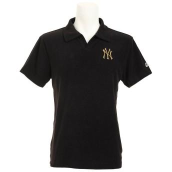 (マジェステック)Majestic ベースボールウェア パイル半袖ポロシャツ MM04NYK0017 [メンズ] MM04NYK0017 BLK5 ブラック L