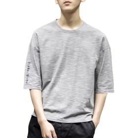 Gobuye Tシャツ メンズ Tシャツ 七分袖 五分袖 メンズ ストライプ ボーダー 七分袖 メンズ tシャツ 夏 夏服 Tシャツ 夏季対応 おしゃれ 702 (A-グレー, XXXL)