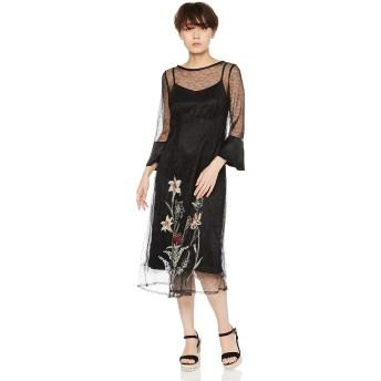 [リリーブラウン] アフリカンフラワー刺繍ワンピース レディース LWFO191084 BLK 日本 F (FREE サイズ)