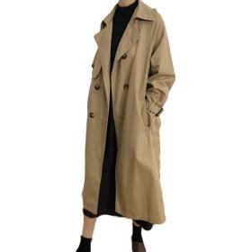 ZhongJue(ジュージェン)トレンチコート レディース ゆったり 韓国風 ファッション スプリングコート ベルと付き ロングコート 無地 着痩せ 通勤(8カーキ)