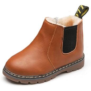 (ダダウン)DADAWEN 子供ブーツ 男の子 女の子 ショートブーツ 裏ボア 防水ブーツ ジッパー付き 履きやすい 滑り止め 通学 通園 イエロー 17.5cm