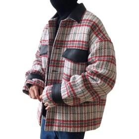 ZhongJue(ジュージェン)チェックコート ゆったり メンズ 中綿 チェスターコート オーバーサイズ ストリート 原宿系 アウター 冬 防寒コート 通学(8レッド)