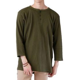(モノマート) MONO-MART ロング丈 ワッフル カットソー ヘムライン Tシャツ 7分袖 ゆるシルエット MODE メンズ カーキ Lサイズ