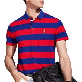 ポロシャツ メンズ 半袖 ボーダー スポーツウェア カジュアル ゴルフウェア メンズ ビジネス ポロ 男性 多色 夏 通気性 吸汗速乾 2XL レッド8079