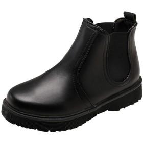 HUYB レディース シューズ スリッポン 女性 丸トウ可愛い ブーツ 厚底靴 お洒落  冬秋靴