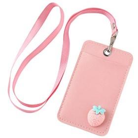 ANPHSIN パスケース -PU 定期入れ ストラップ付き パス入れ カードケース ICカードケース メンズ レディース 通勤 通学 可愛い (pink strawberry)
